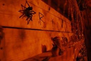 Araignées et autres objets illustrant la salle Magie Noire du défi des ducs à Dijon